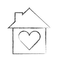 cute house with heart exterior icon vector image vector image
