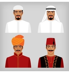 Eastern men in traditional clothes vector