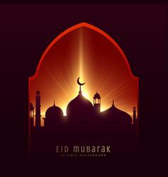 festival greeting for muslim eid mubarak with vector image