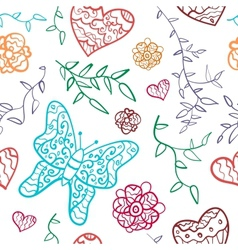 Floral seamless pattern with flowers hearts and vector image