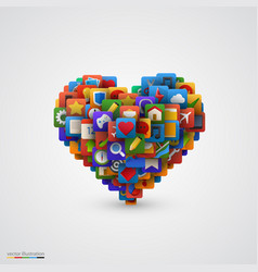 heart with many application icons vector image vector image