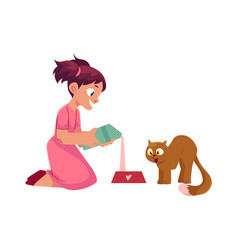 little girl pouring milk for her cat feeding pet vector image