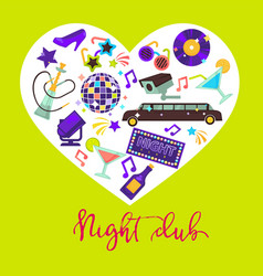 night club promotional poster with attributes for vector image vector image
