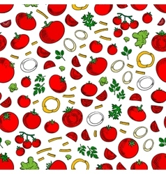 Seamless tomatoes vegetables and herbs pattern vector image