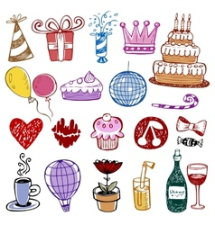 Set of Birthday doodles vector image vector image