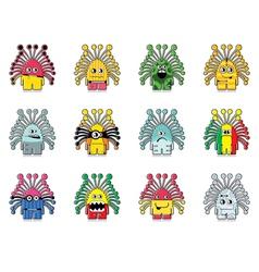 Set of twelve monster vector image vector image