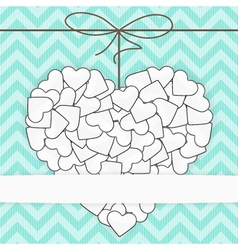 Card template White heart on a blue vector image