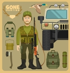 Gone hunting with hummer vector