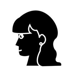 profile head woman female long hair silhouette vector image