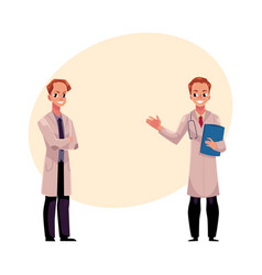 Two doctors in medical coats holding stethoscope vector