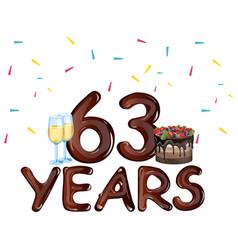 63 years anniversary celebration card vector