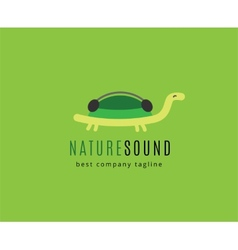 Abstract turtle with headphones logo icon concept vector image