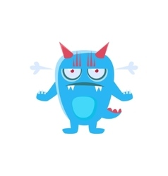 Angry blue monster with horns and spiky tail vector