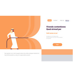 Arab man pull rope opening concept grand ceremony vector