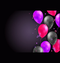 background with glossy air 3d flying balloons vector image