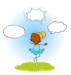 ballet girl with speech balloon vector image