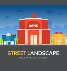 bank building in city space with road on flat syle vector image