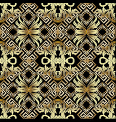 baroque gold 3d seamless pattern greek vintage vector image