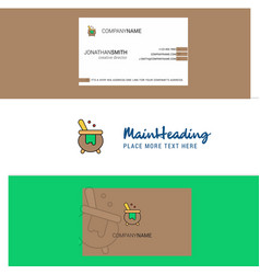 beautiful cooking pot logo and business card vector image
