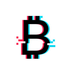 Bitcoin sign in glitch style vector