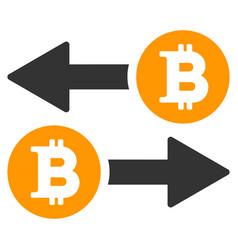 Bitcoin transaction arrows flat icon vector