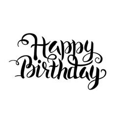 Black Happy Birthday Lettering over White vector