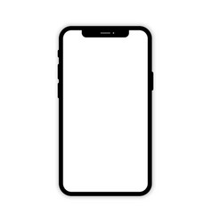 Black mobile phone with white screen phone mockup vector