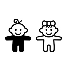 Boy and Girl Baby Icon vector