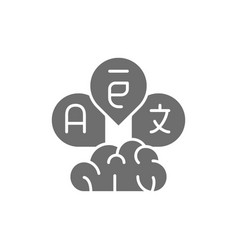 Brain with language bubbles translation grey icon vector