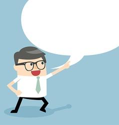 Businessman talking with speech balloon vector image