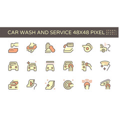 car wash and service icon set design 48x48 pixel vector image