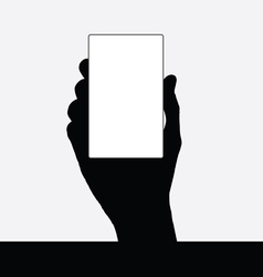 card in hand black silhouette vector image