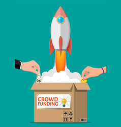 Cardboard box space rocket and hands with money vector