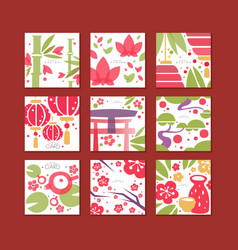 cards with traditional asian pattern original vector image
