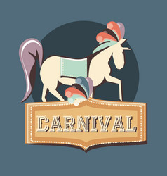 carnival horse circus show decoration retro vector image