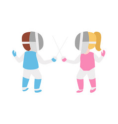 Children epee fencing lunge competition activity vector