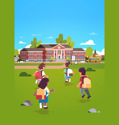 children group with backpacks running to school vector image