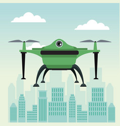 City landscape scene with drone with two airscrew vector