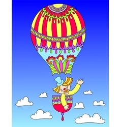 Colored line art drawing of circus theme - clown vector