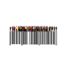 crowd of businesspeople on the bar code vector image