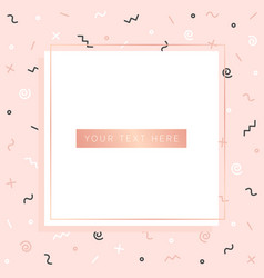 Cute pink background with geometric figures vector