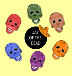 Dia de los muertos day of the dead sugar skulls vector