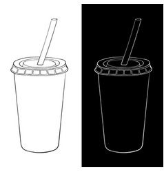 disposable cup with drinking straw black and vector image