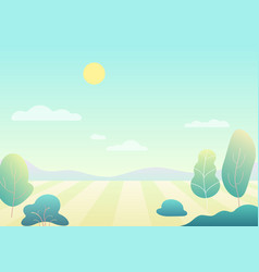 fantasy simple cartoon summer field with tree vector image