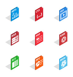 file type icons isometric 3d style vector image