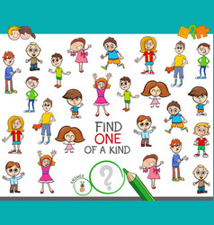 Find one a kind game with kid boys and girls vector
