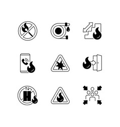 Fire safety guidelines black linear icons set vector