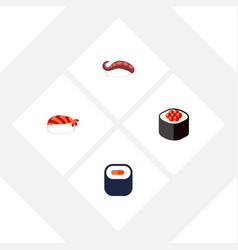Flat icon sashimi set of gourmet maki japanese vector