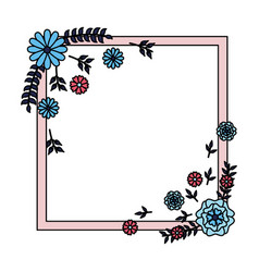 flowers badge decoration vector image