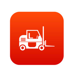 forklift icon digital red vector image